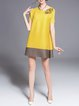 Short Sleeve Color-block Crew Neck Casual Tunic