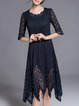Dark blue Crew Neck Half Sleeve Elegant Midi Dress