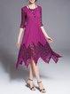 Half Sleeve A-line Paneled Plain Elegant Midi Dress
