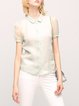 Green Shirt Collar Elegant Silk Short Sleeved Top