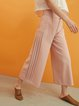 Pink Polyester Plain Wide Leg Pants