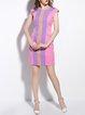 Pink Girly Sheath Stripes Mini Dress