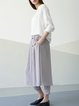 Gray Simple Plain H-line Midi Skirt