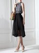 Black Sleeveless Two Piece Silk Midi Dress