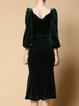 Green Velvet Mermaid Symmetric Balloon Sleeve Midi Dress