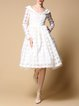 White Plain Vintage Polyester Midi Dress