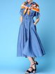 Blue Casual Shirt Collar Denim Midi Dress