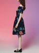 Blue Viscose A-line Short Sleeve Midi Dress