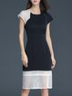 Casual Short Sleeve Color-block A-line Midi Dress