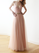 Pink Swing Paneled Plain Spaghetti Tulle Maxi Dress