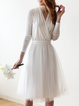 Long Sleeve Paneled Elegant Plain Tulle Midi Dress