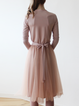 Pink Plain Paneled V Neck Long Sleeve Midi Dress