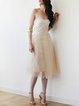Champagne Casual Plain Mesh Midi Skirt