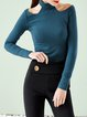 Blue Plain Cutout Casual Long Sleeved Top