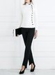 Black Asymmetric Cotton-blend Straight Leg Pants