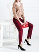 Burgundy Plain Straight Leg Pants