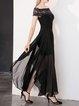 Black Short Sleeve Asymmetric A-line Maxi Dress