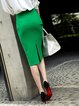 Green Bodycon Elegant Midi Skirt