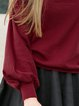 Burgundy Cotton-blend Balloon Sleeve Plain Blouse