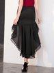 Black Elegant High Low Ruffled Plain Maxi Skirt