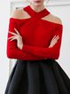 Red Cutout Long Sleeve Long Sleeved Top