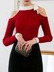 Red Plain Crew Neck Cotton-blend Long Sleeve Sweater