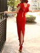 Plunging Neck Frill Sleeve Elegant Maxi Dress