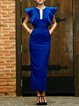 Blue Ruffled Sheath Frill Sleeve Maxi Dress