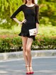 Black Elegant Crew Neck Bodycon Mini Dress