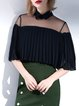 Statement Polyester Frill Sleeve Plain Blouse