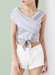 White Sleeveless Plain Asymmetric Cropped Top