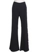 Black Plain Elegant Buttoned Simple Flared Pants
