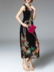 Black Floral-print Sleeveless V-neck A-line Midi Dress