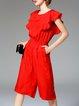 Simple Tencel Pockets Plain Frill Sleeve Jumpsuit
