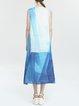 Blue A-line Linen Casual Midi Dress