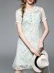 Green Asymmetric Short Sleeve Stand Collar Mini Dress
