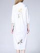 White Cotton Casual Shirt Collar Shift Shirt Dress