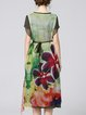 Green Short Sleeve Printed A-line Floral Chiffon Dress