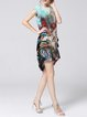 Multicolor Two Piece Short Sleeve Asymmetric Mini Dress