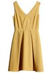 Yellow Sleeveless Folds Plain Mini Dress
