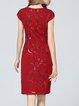 Red Elegant Embroidered Midi Dress