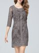 Gray Floral Vintage Embroidered Mini Dress