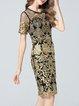Elegant Floral Short Sleeve Midi Dress