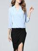 Blue Polyester Elegant Blouse