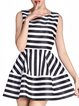 Stripes Sleeveless Sweet A-line Mini Dress