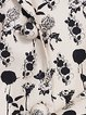 Cream Lapel Long Sleeve Floral-print Coat