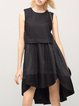 Black Sleeveless Crew Neck Jacquard Midi Dress