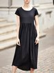 Black Gathered Two Piece Crew Neck Short Sleeve Midi Dress