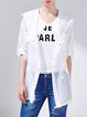 White Casual Plain Hoodie Polyester Coat