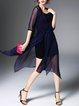 Dark Blue Asymmetric 3/4 Sleeve Two Piece Midi Dress